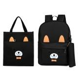 3 Pcs School Bag Sets Canvas Backpack Shoulder Bags Handbag Camping Travel Bag With Pencil Case