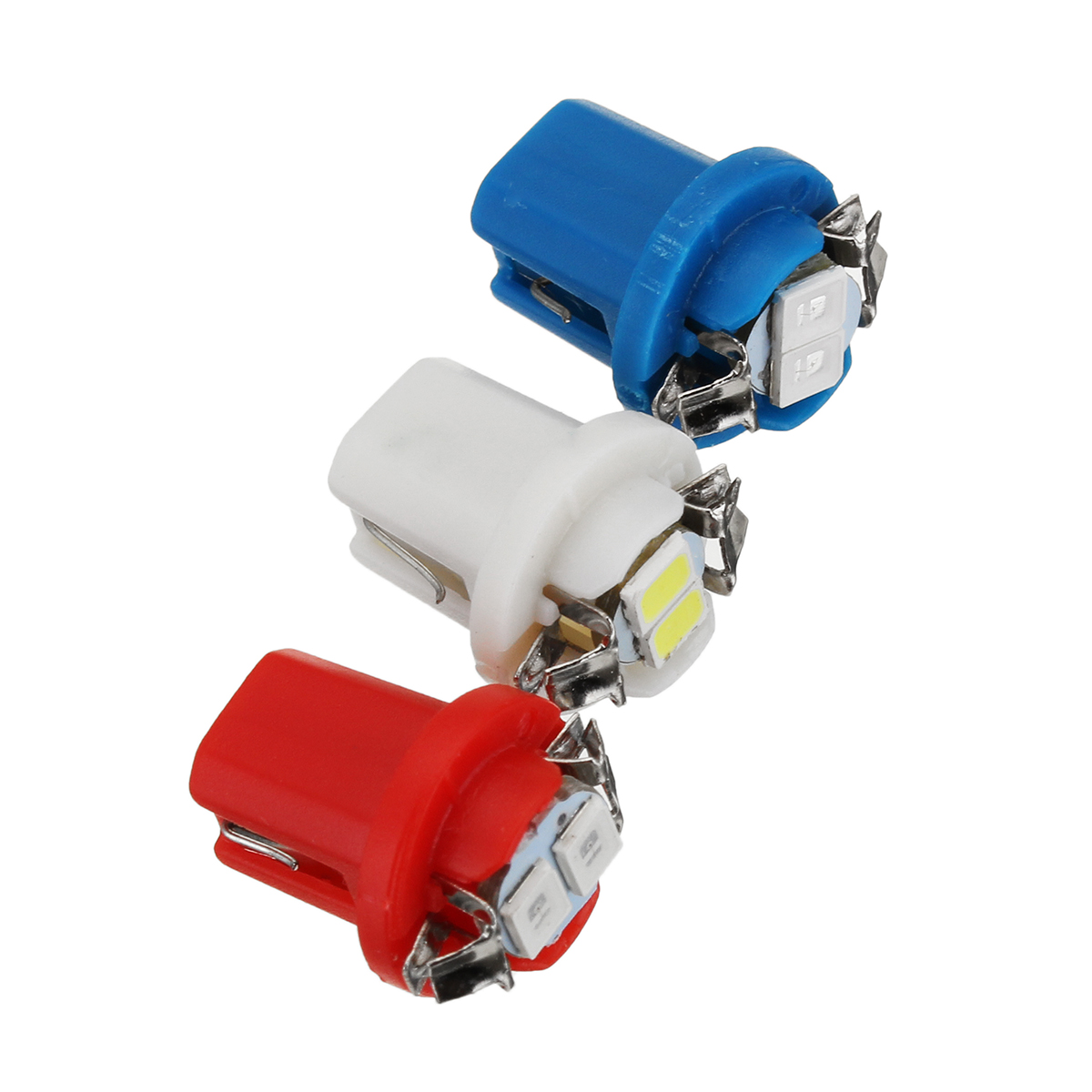 10Pcs White B8.5D T5 5050 2LED Car Dash Wedge Gauge Instrument Side Light Bulb