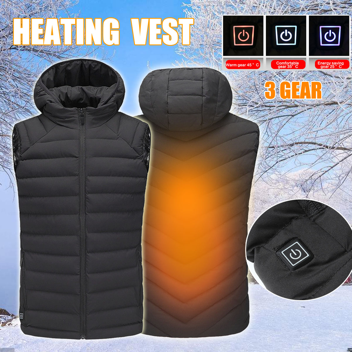 Electric USB Heated Heating Heat Hoodie Jacket Winter Warm Coat Temperature