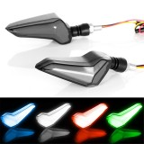 Pair 12V Motorcycle Scooter LED Modified Turn Signal Lights Daytime Light Ox Horn Indicators