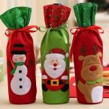 Christmas Bottle Bag Decor Set Santa Claus Snowman Deer Bottle Cover Clothes Kitchen Decoration