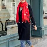 Women Winter Cashmere-Like Plum Embroidery Tassel Ethnic Elegant Scarf Shawl
