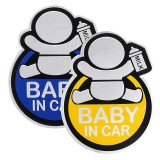 Baby in Car Stickers Aluminum Auto Tail Window Decal Warning Safety Sign Decal