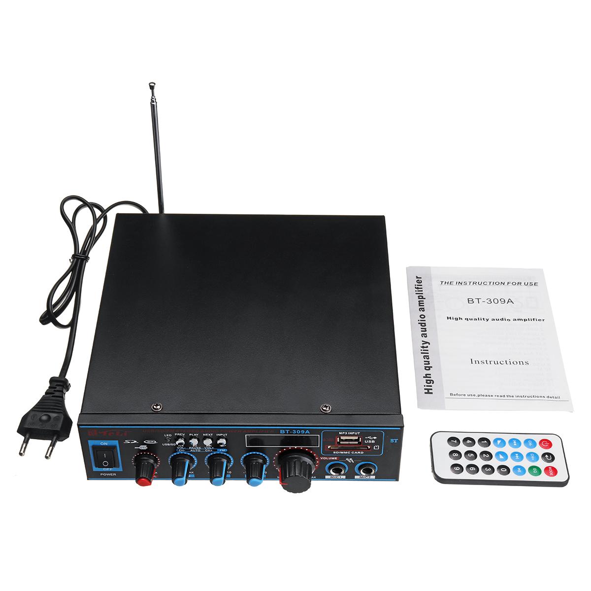BT-309A 220V-240V DC12V Digital Bluetooth Stereo Audio Home And Car Amplifier