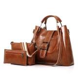 Women Faux Leather Three-piece Set Handbag Shoulder Bag Clutch Bag