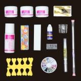 14 Acrylic Powder Nail Art Set False Nail Art Brushes Dispenser Sanding File