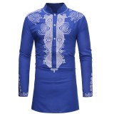 Mens Mid-long Length Stand Collar Fashion African Printing Long Sleeve Shirts