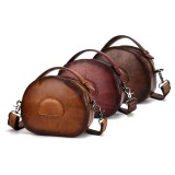 Women Vintage Genuine Leather Cowhide Handbag Hand Brush Crossbody Bag Shoulder Bag