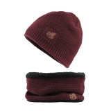 Men Winter Thicken Plus Velvet Knit Hat Scarf Set Outdoor Earmuffs Beanie With Neck Cover