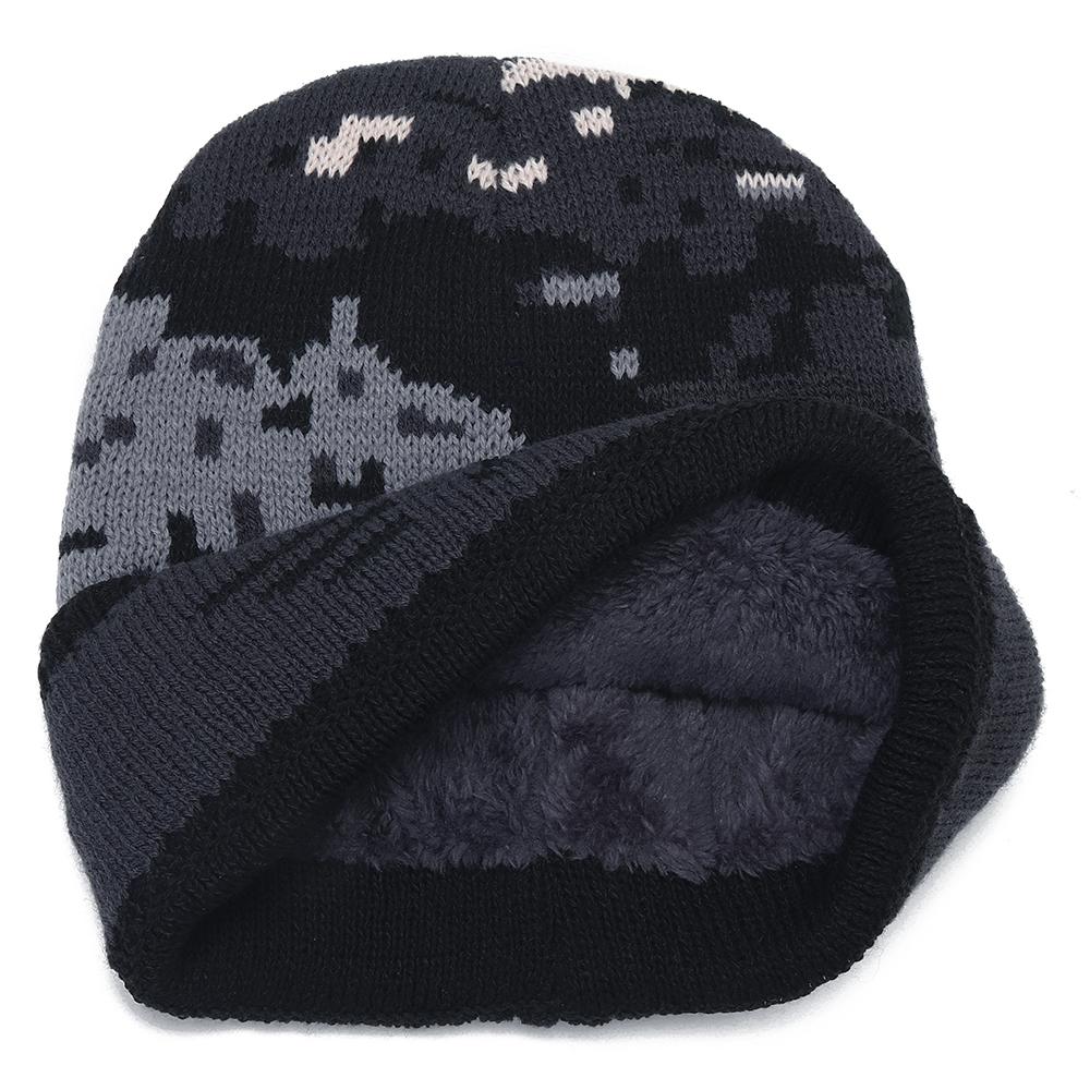 Mens Crimped Winter Plus Velvet Warm Slouchy Knit Beanie Hat Casual Plus Size Earmuffs Skull Cap