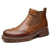 Men Retro Soft Classic Brogue Leather Chelsea Ankle Boots