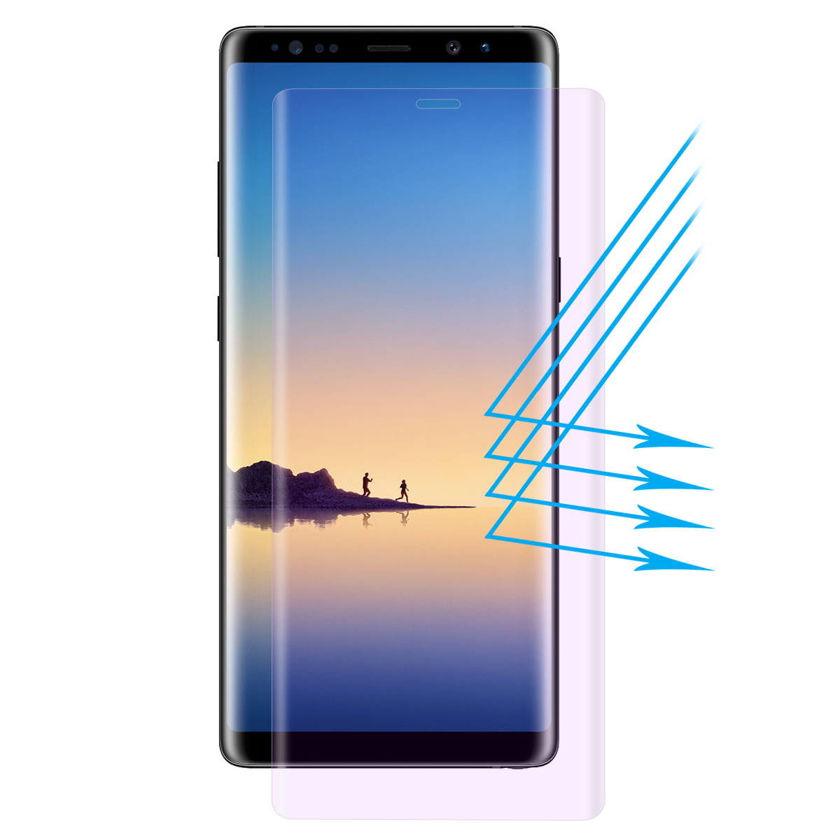 Enkay Clear Tempered Glass Screen Protector For Samsung Galaxy Note 8 3D Curved Edge Anti Blue Light