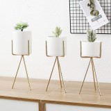 Gold High Tripod Plant Iron Stand +Ceramic Flower Succulent Pot Display Rack Holder Decor