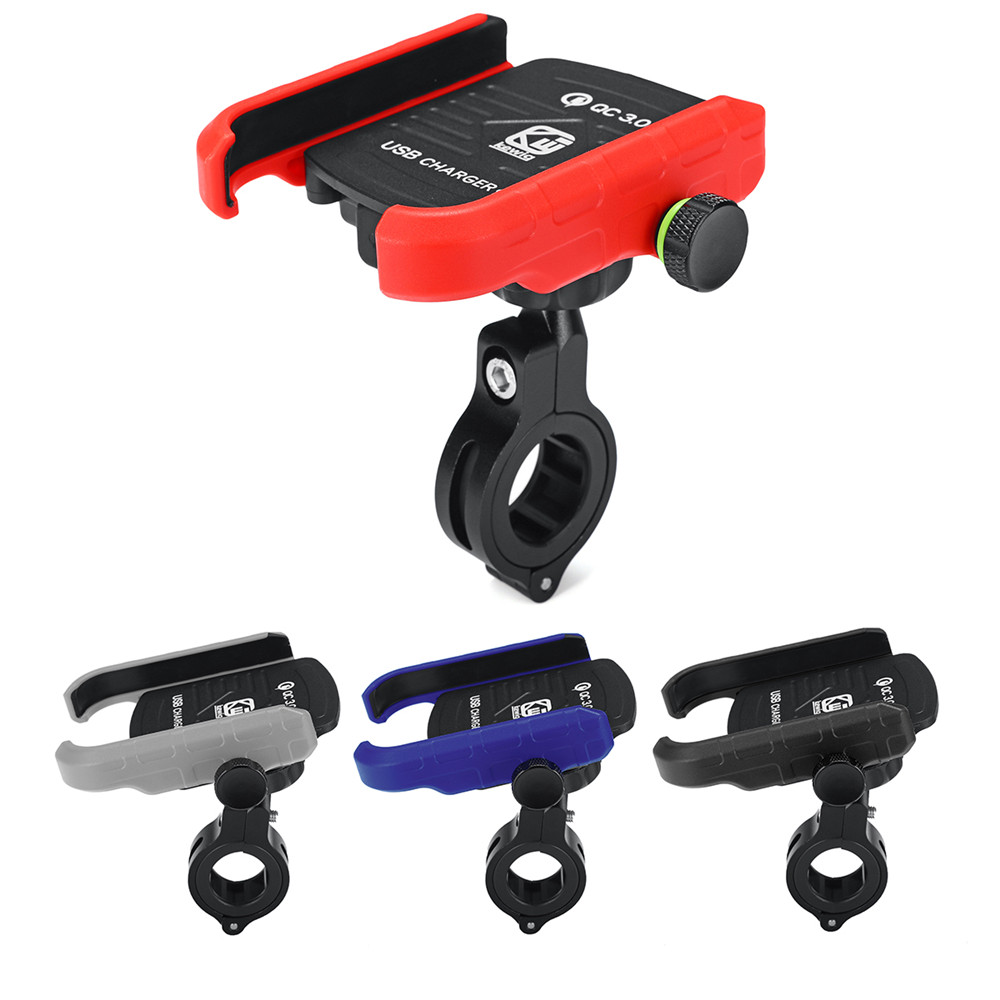 Aluminium QC3.0 USB Fast Charger Motorcycle Motorbike Mobile Phone Holder Mount