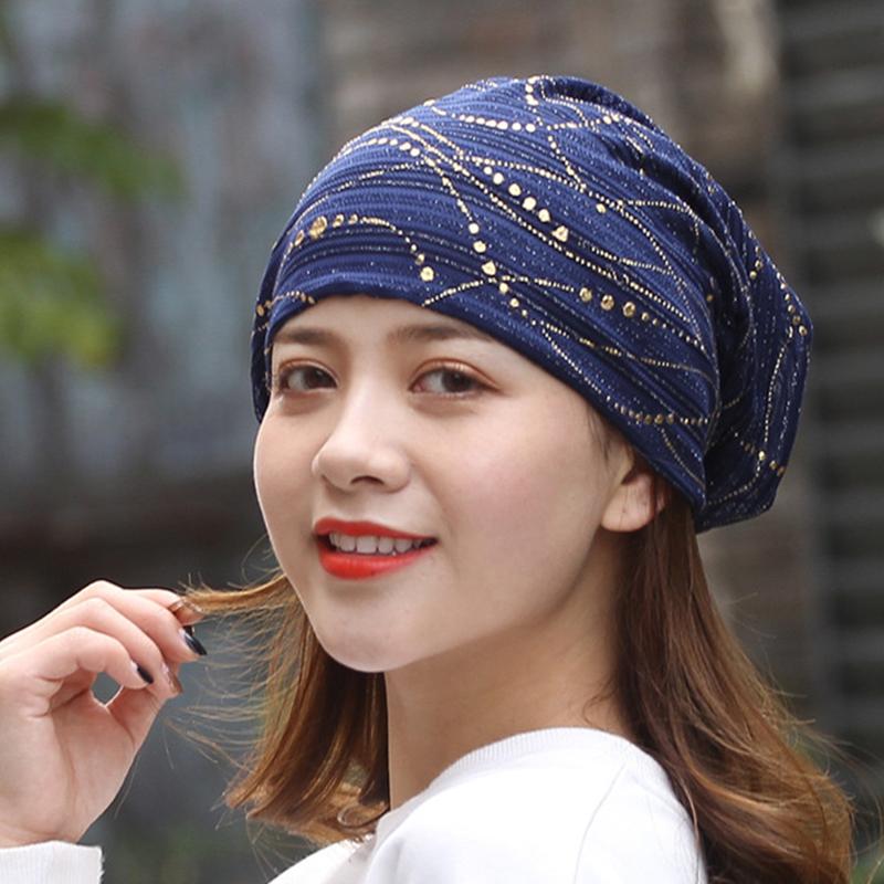 50b8d4642d9 Women Ethnic Cotton Breathable Beanie Cap Fashion Print Brimless Cap ...