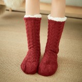 Women Winter Thickening Warm Casual Socks Non-Slip Silicone Middle Tube Socks