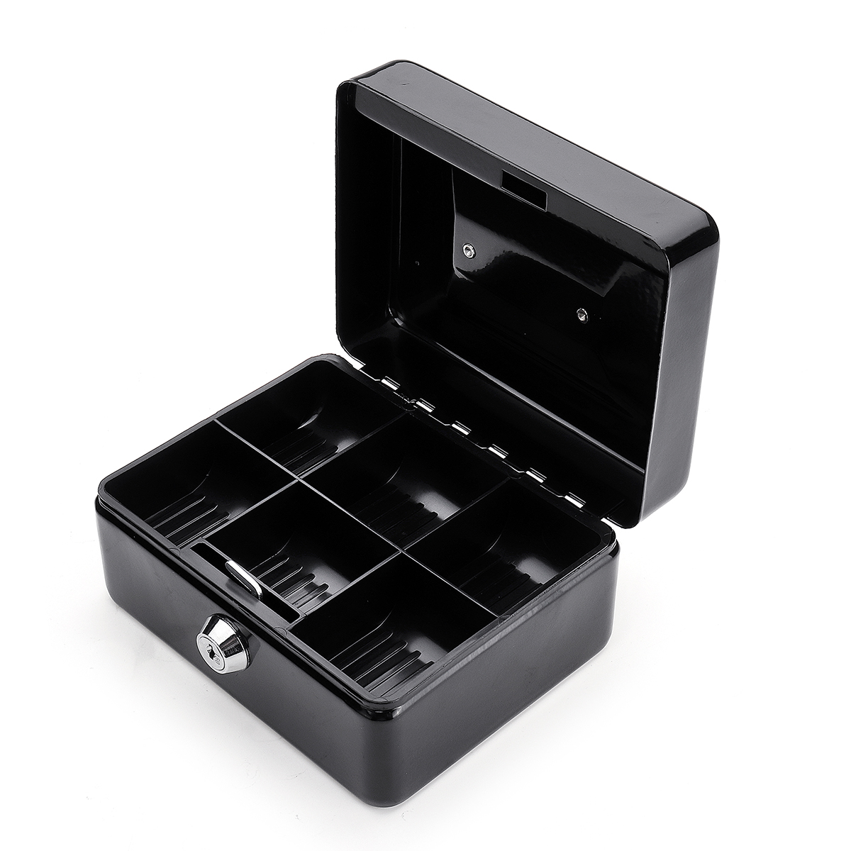 Mini Portable Money Safe Storage Case Black Sturdy Metal With Coin Tray Cash Carry Box