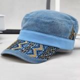 Men Women Washed Denim Military Army Cap Outdoor Ripple Peaked Cap Visor Flat Top Hat