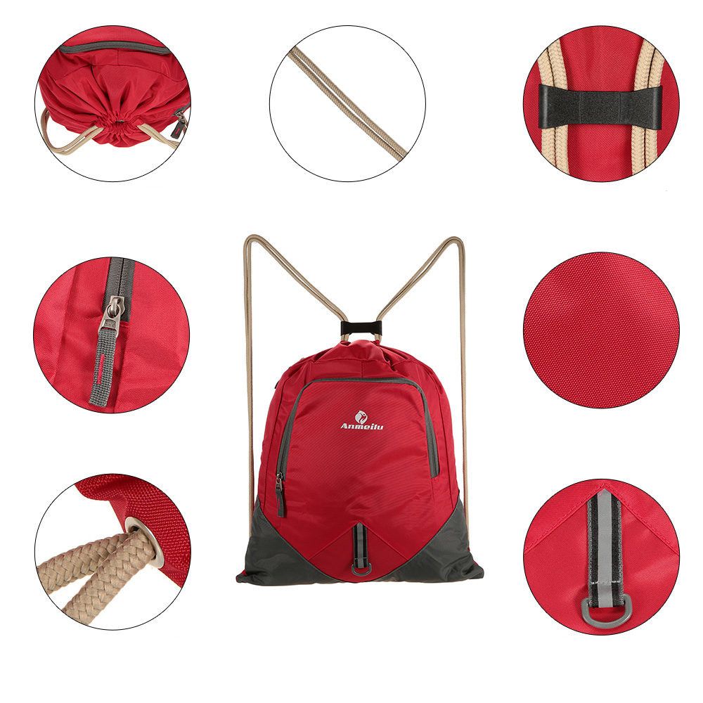 ANMEILU 12L Foldable Drawstring Backpack Ultralight Outdoor Travel Waterproof Folding School Bag