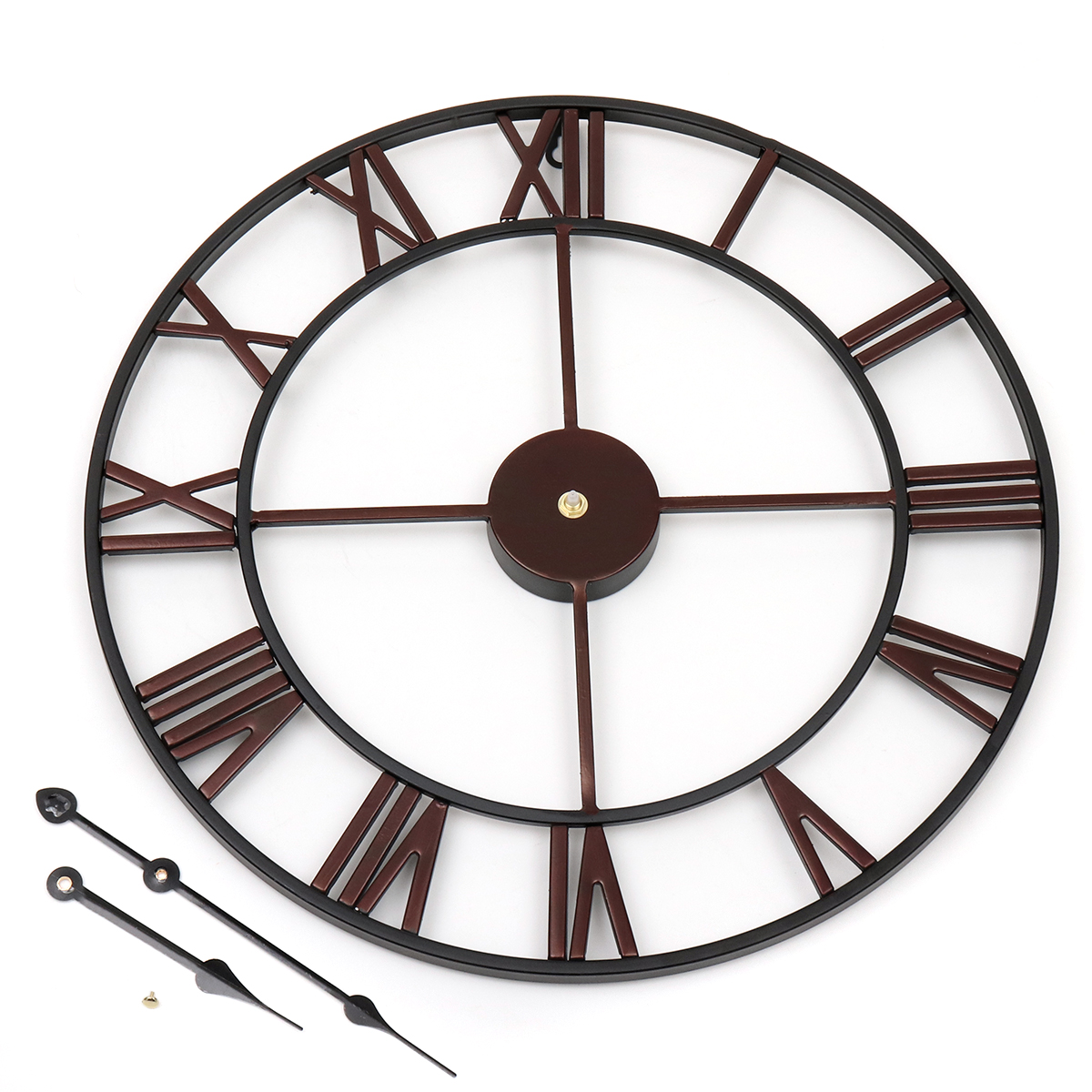 43a2f395de00 45cm Large Wall Clock Big Roman Numerals Giant Open Face Metal For ...