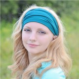 Womens Cotton Good Elastic Wicking Yoga Headband Wide-Brimmed Headwear for Running Cycling