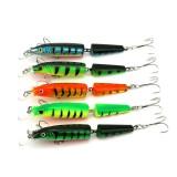 JM0025 5Pcs/Set 10cm 9.6g 2 Section Dual Hook Hard Bait Fishing Lure Artificial Wobblers Lures