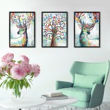 Three-dimensional Triptych Watercolor Elk Wall Sticker Home Decor Mural Art Removable Wall Decals