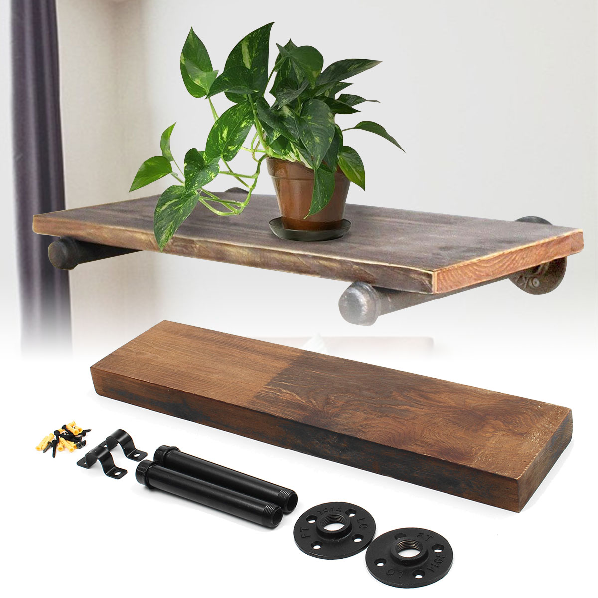 24 36 industrial rustic pipe wall shelf bracket storage. Black Bedroom Furniture Sets. Home Design Ideas
