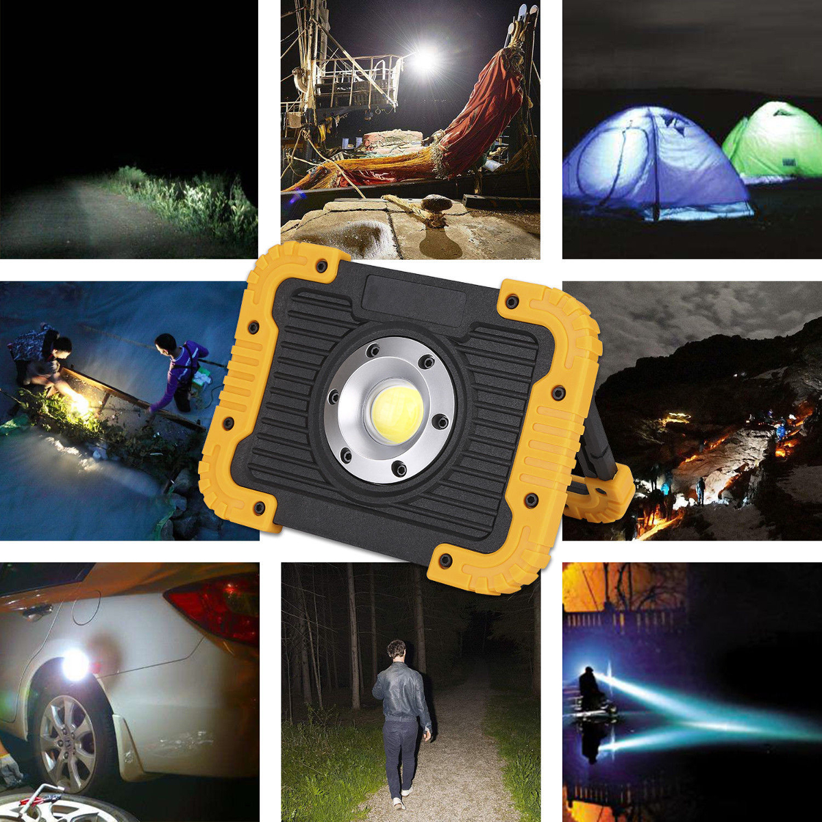 Outdoor Camping 750lm COB Tent Light USB Rechargeable Power Bank Work Maintenance Light