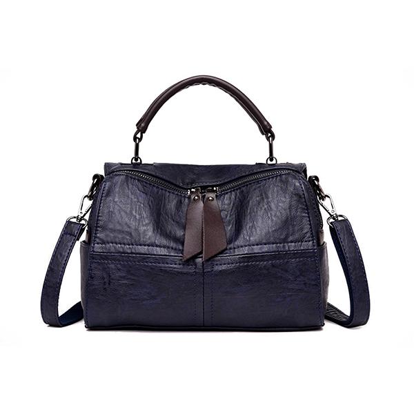 Women Soft Leather Crossbody Bag Double Shoulder Strap Leisure Handbag Solid Boston Shoulder Bag