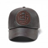 Men Women Earmuffs Artificial Leather Badge Baseball Cap Outdoor Adjustable Dad Peaked Hat