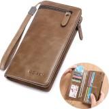 Men Business Long Wallet SIM SD Card Slot Phone Bag Vintage Fashion Genuine Leather Clutch Bag