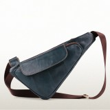 Men Cowhide Genuine Leather Vintage Chest Bag Solid Oil Wax Crossbody Bag
