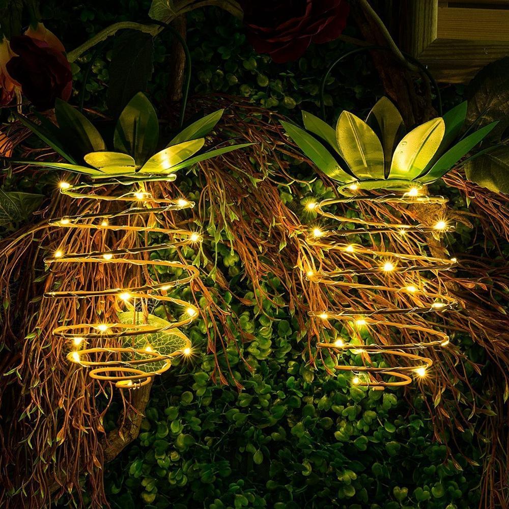 2pcs solar powered 25 led pineapple lights hanging fairy. Black Bedroom Furniture Sets. Home Design Ideas