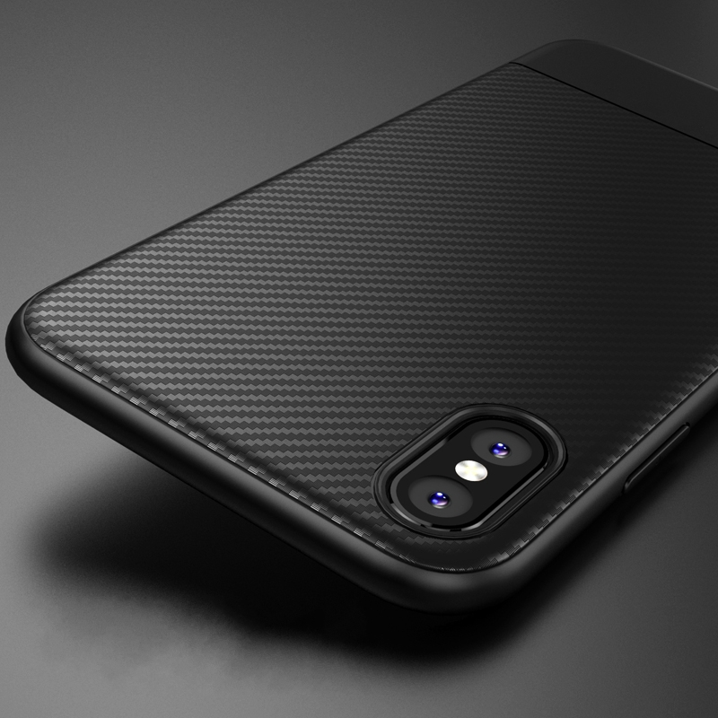 Bakeey Protective Case For iPhone XS Max Carbon Fiber Fingerprint Resistant Soft TPU Back Cover