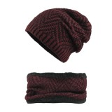 Winter Thicken Plus Velvet Beanie Caps with Scarf Set Warm Double Layers Knitted Hat