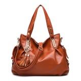 Women Faux Leather Tassel Soft Leather Handbag Solid Casual Crossbody Bag
