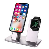 2 In 1 Aluminum Alloy Charging Dock Stand Holder Station, For Apple Watch Series 3 / 2 / 1 / 42mm / 38mm, iPhone X / 8 / 8 Plus / 7 / 7 Plus / 6s / 6s Plus