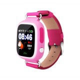 Q90 1.22 inch IPS Color Touch Screen Lovely Children Smartwatch GPS Tracking Wifi Watch, Support SIM Card, Positioning Mode, Voice Call, Pedometer, Alarm Clock, Sleep Monitoring, SOS Emergency Telephone Dialing (Pink)