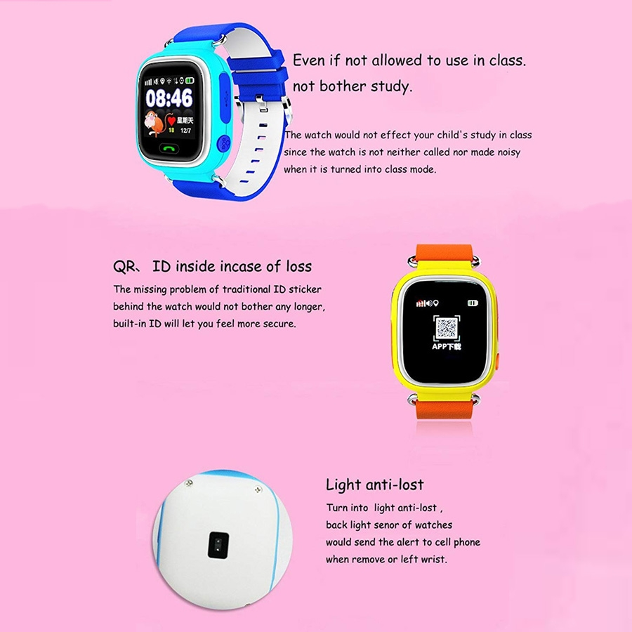 Q90 1 22 inch IPS Color Touch Screen Lovely Children Smartwatch GPS  Tracking Wifi Watch, Support SIM Card, Positioning Mode, Voice Call,  Pedometer,