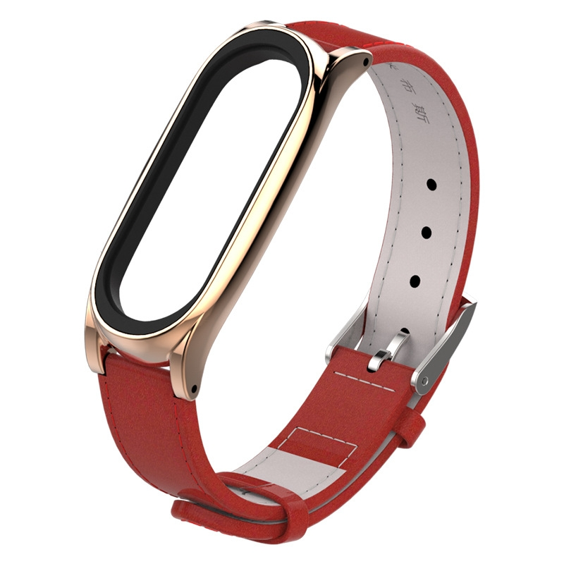 Top-grain Leather Strap for Xiaomi Mi Band 3 Wrist Straps Screwless Magnetic Bracelet Smart Band Replace Accessories, Host not Included