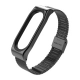 Metal Strap for Xiaomi Mi Band 3 Screwless Buckle Style Stainless Steel Bracelet Wristbands Replace Accessories, Host not Included (Black)