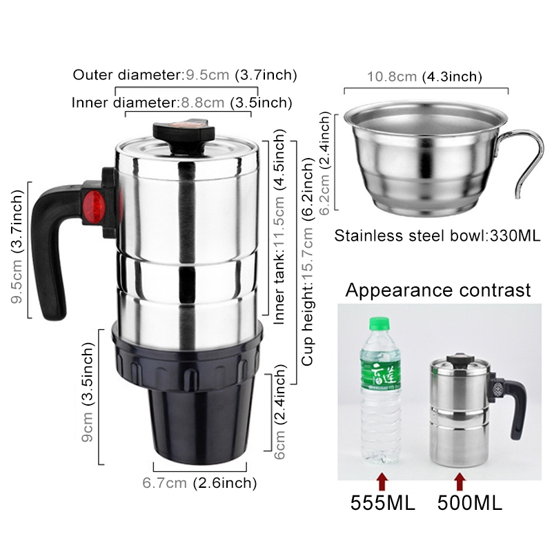 DC 12V Stainless Steel Car Electric Kettle Heated Mug Heating Cup with Charger Cigarette Lighter for Car, Capacity: 500ML