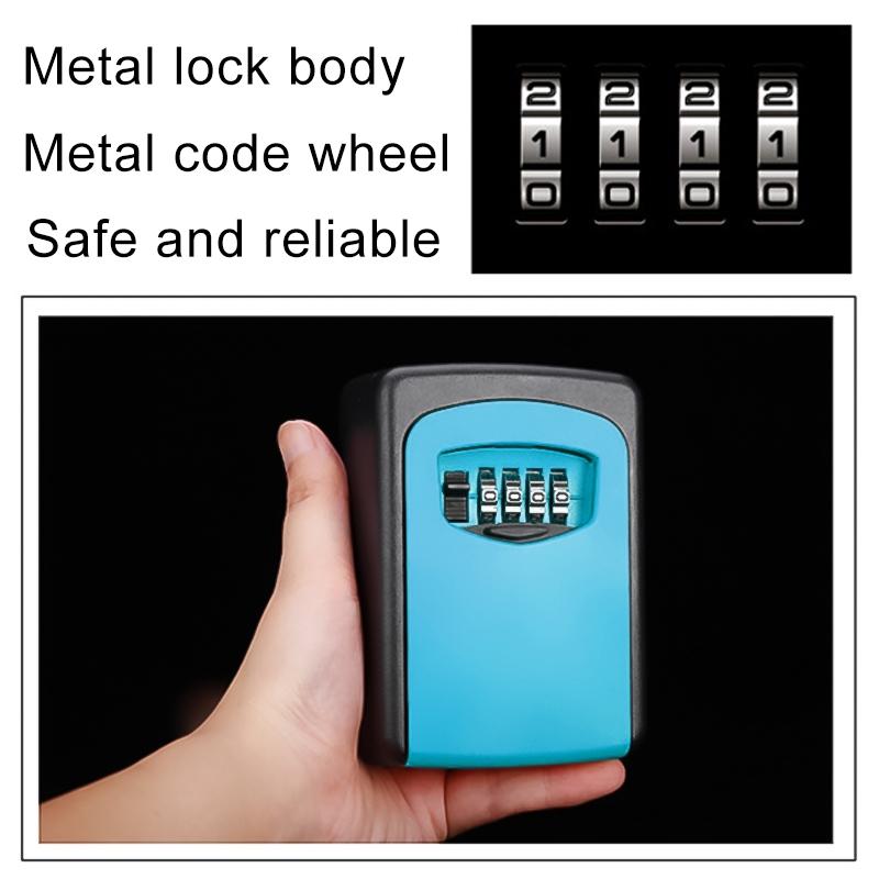 Wall-hanging Key Storage Box with Metal 4-Digit Password Lock (Blue)