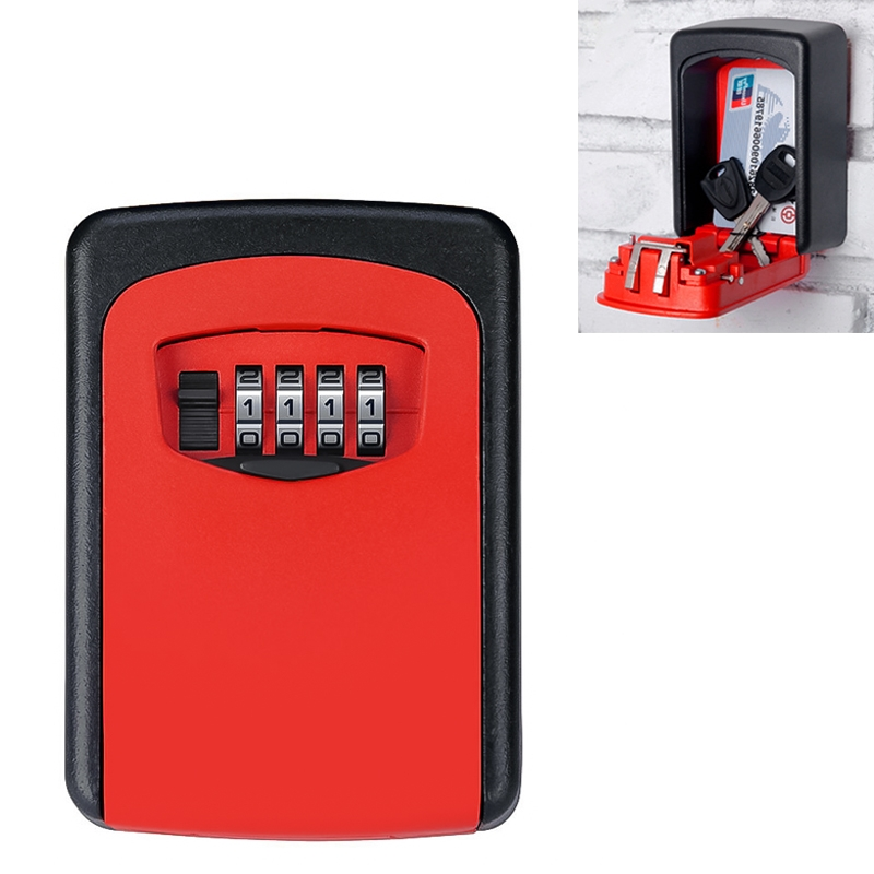 Wall-hanging Key Storage Box with Metal 4-Digit Password Lock (Red)