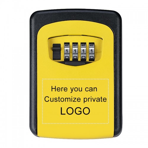 Wall-hanging Key Storage Box with Metal 4-Digit Password Lock (Yellow)
