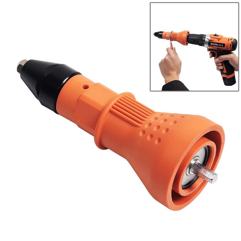 220V Electric Rivet Nut Gun Cordless Drill Riveting Adapter Tool (Orange)