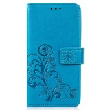 Lucky Clover Pressed Flowers Pattern Leather Case for Huawei Mate 20, with Holder & Card Slots & Wallet & Hand Strap (Blue)