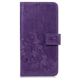 Lucky Clover Pressed Flowers Pattern Leather Case for Huawei Mate 20, with Holder & Card Slots & Wallet & Hand Strap (Purple)