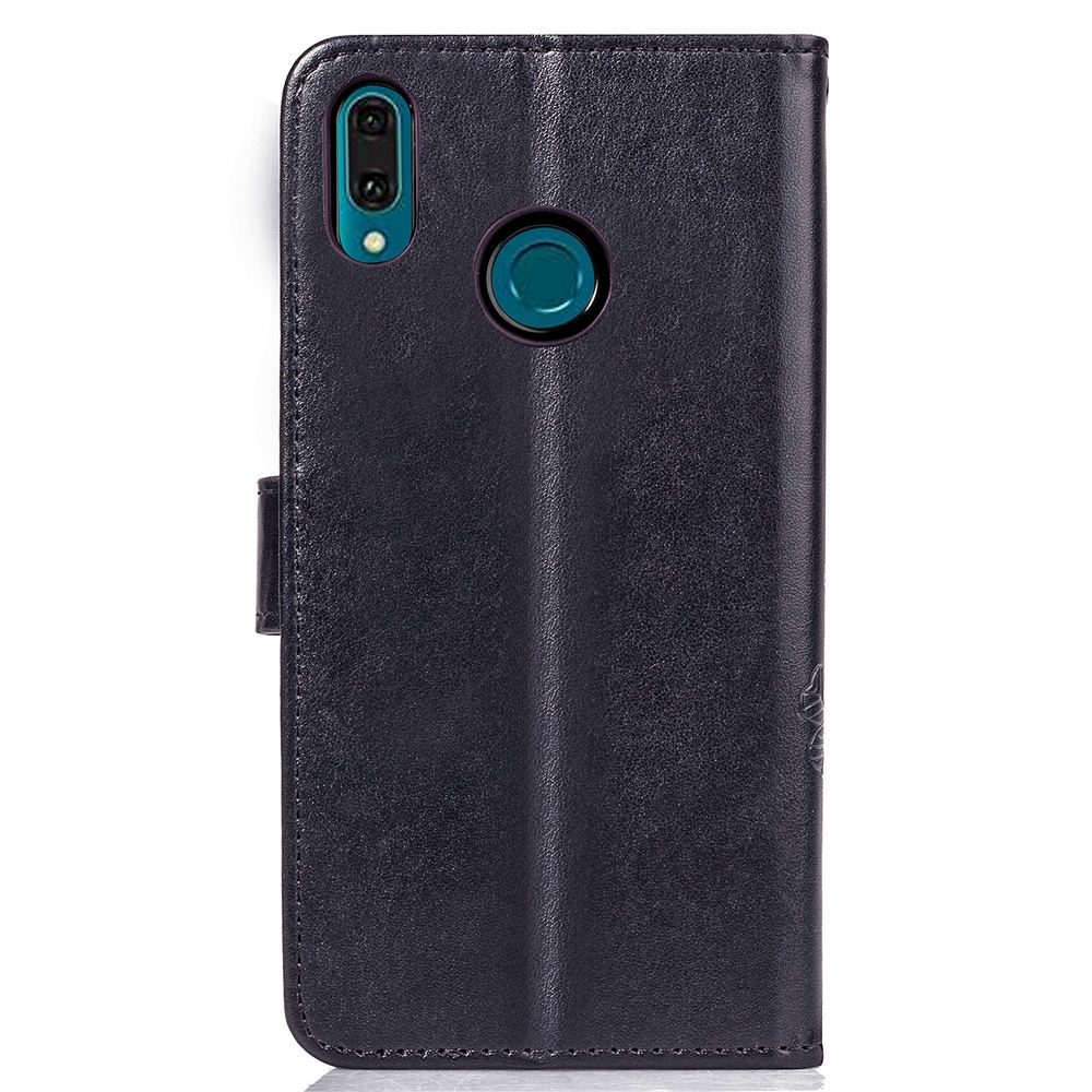 Lucky Clover Pressed Flowers Pattern Leather Case for Huawei Y9 (2019) / Enjoy 9 Plus, with Holder & Card Slots & Wallet & Hand Strap (Black)